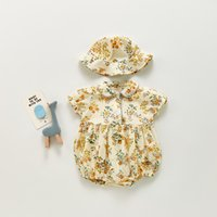 ZHBB INS Summer Korean Australia Baby Girl Floral Rompers Jumpsuits with Hats 2Pieces Sets Spring Autumn