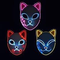 Demon Slayer Fox Mask Halloween Party Japanese Anime Cosplay Costume LED Festival Favor Props Face Light Masks DHL