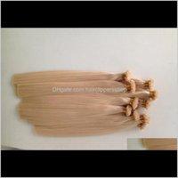 Vorgebundene ProdukteBlonde Keratin Fusion Human 1 Set 100Strands 100g Vorgebundene Flachspitze Haarverlängerungen Unverarbeitete geraden Rückgang