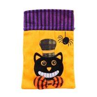 Forniture per feste Decorazioni di Halloween Decorazioni con coulisse Dolcetto o scherzetto Borse per dolci per bambini Strega Skull Pumbin Pumpkin Cat Snack Pouch GWE9615