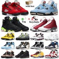 Mens Jumpman Scarpe da basket 5s Raging Bull Womens 1s Hyper Royal Dark Mocha 4s Università Blu 6S 13s Red Flint Trainer Sneakers sportivi