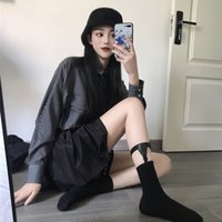 Harajuku Style Retro Black Non-Slip Strap Women's All-Match Garter Calf Leg Ring Half Socks