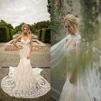 Naama Anat Gorgeous Mermaid Wedding Dresses Strapless Appliques Beads Lace Sheath Wedding Dress Sweep Train Bridal Gown
