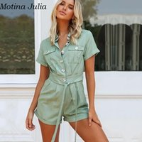 Women's Jumpsuits & Rompers Motina Julia Summer Pockets Casual Short Playsuit Women Sexy Sashes Cotton Elegant Jumpsuit Romper Cool Daily Bu
