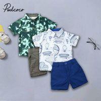 Pudcoco Brand Boys Vestiti Formali Bambini Abbigliamento Set 2pcs Abito a manica corta T-shirt T-shirt + Breve Pant Summer Toddler Girl Vestiti C0225