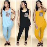 New 2021 Women Two Pieces Sets Summer Tracksuits Sleeveless O-Neck Tops+Pants Suit Sporty Fitness Leopard Outfits 2 Pcs Street
