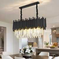 Modern Black Chandelier Home Pendant Lamps Decoration Living Room Illuminator Decor Interior Lighting Rectangle Kitchen Light Fixtures
