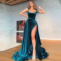 2 Stück Samt Abendkleid Hohe Split Celebrity Kleider Meerjungfrau Abnehmbare Zug Lange Abendkleider Frauen Kleid Prom Formale Kleid Party Robe