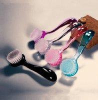 Özel Logo Yuvarlak Kafa Kapak Toz Fırçası ile Moda Uzun Saplı Plastik Çok Fonksiyonlu Temizlik Tırnak Fırçalar