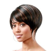 Synthetic Wigs Women Short Pixie Wig Mixed Black Brown For Afro Fake Hair Daily Use