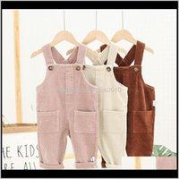Baby, & Maternity Drop Delivery 2021 Baby Corduroy Suspender Pants Fall Kids Boutique Clothing Korean 1-4T Little Boys Girls Solid Color Over