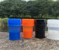 Honeypuff Med Container 4Parts Molinillo de plástico Sistema de bloqueo de torsión segura Molinillos de pimiento Twist de bloqueo seguro Tabaco Fumar Herb Muller 283 V2