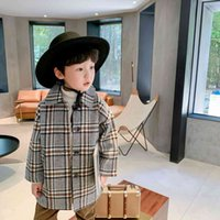 Autumn England style fashion boys woolen plaid long jackets kids outwears children thick casual coats 210508