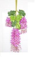 2021 Flores de Ivy Flor de seda 110 cm (43.3 '') Wisteria Vine Flor Rattan para Centros de Boda Decoraciones Decoraciones Bouquet Guirnalda Inicio