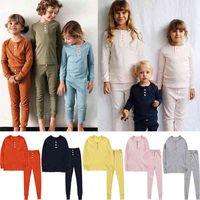 Пижама 2 ШТ. Детские Пижамы Наборы Детские Пижамы Детские мальчики Девушки Сплошные мягкие Pajamas Pijamas Хлопковая ночная одежда HOLSE G63T