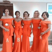 Orange Plus Size Mermaid Bridesmaid Dresses Sexy Off Shoulder Maid Of Honor Gowns Wedding Evening Party Guests Robes