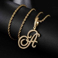 Designer Necklace Luxury Jewelry Hip Hop A-Z Cursive Letters CZ Custom Name & Pendant Bling Cubic Zirconia For Men