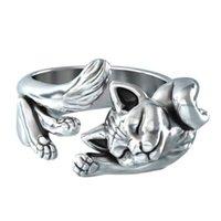 Vintage Silber Nette Katze Ring Frosch Ring Igel Animal Design Schmuck Großhandel