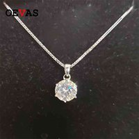 OEVAS Real 1 D Color Bridal Pendant Necklace 100% 925 Sterling Silver Wedding Party Fine Jewelry Gift Wholesale 210726