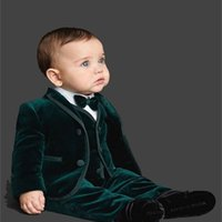 الزمرد الأخضر المخملية مخصص الزفاف أطفال سهرة بدلة بالتواصل دعاوى للأولاد