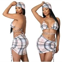Sommer Sexy Damen Strap Swimsuit Vier-teiliges Lace Up BH + Shorts + Rock + Headwear Anzug Sport Casual Damen Baden Bikini Sets Kleidung G57QOGM