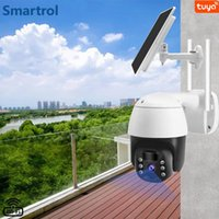 Cameras Waterproof Solar Panel Outdoor Security Rechargeable Battery Powered PTZ WiFi HD Color Night Vision Camera Smart Home Surveillan