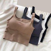 Camisoles & Tanks Seamless Crop Top Women Solid Wide Shoulder Straps Tube Bra Lingerie Comfortable One-Piece Underwear