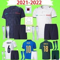2021 إيطاليا Barella Sensi Insigne Soccer Jerseys 21 22 رجلا Bonucci Chiellini Belotti Immetile 2022 حارس مرمى ايطاليا كرة القدم الاطفال موحدة مع السراويل والجوارب