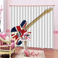 Curtain & Drapes Custom American Flag Pattern Blackout US Bass Guitar Electronic Rock Music For Living Room Bedroom Decor Sets