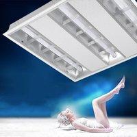 천장 조명 스테인레스 스틸 600 * 600 그릴 리플렉터 LED 튜브 홀더 브래킷 사무실 시장 피팅 램프 벽 패널 조명
