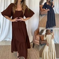 Party Dresses Beautiful For Women 2021 Fashion Short Sleeve Square Collar Casual Loose Long Dress Vestidos Mujer Verano