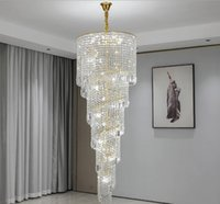 staircase chandelier lighting gold home decor crystal lamp spiral design hallway lobby long suspension light fixture