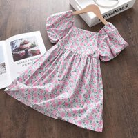 Girl's Dresses Keelorn Girls Floral Korean Fashion Kids Puff Sleeve Princess Clothes Summer Children Square Collar Prom Party Costumes