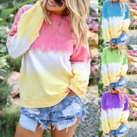 The Latest Fashion Autumn Gradient Rainbow Color Blouse Ladies Casual Loose Women's Long-sleeved Shirt Pullover Blouses & Shirts