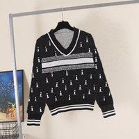 2021 여성 스웨터 캐주얼 니트 콘트라스트 컬러 긴 소매 가을 패션 고품질 클래식 숙녀 스웨터 브랜드 럭셔리 디자이너 의류