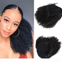 Afro Kinky Curly Drawstring Ponytail for Black Women Raw Indian Human Hair 4C curly Kinky Clip in Ponytail Extensions 100g