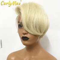 Lace Wigs Luvin Pixie Cut Wig Human Hair Straight T Part Transparent Short Bob 613 Blonde Frontal For Wumen