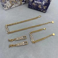 Europe America Fashion Jewelry Sets Earring Women Lady Crystal 18K Plated Gold Bracelet Earrings Necklaces Set With Letter Pendant Gift Box Wedding