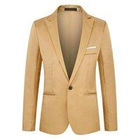 Men's Suits & Blazers Men Suit Single Button Blazer Plain Solid Color Business Casual Style Office Pockets Autumn Winter Mens Jacket