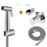 Toilet Seat Covers Hand-Held Bidet Sprayer Set Flusher Brushed Stainless Steel Faucet Bathroom Spray Shower Head