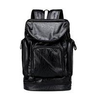 Backpack 2021 Fashion Waterproof Men Leather Bookbags Mens PU School Bags Male Functional Big Capacity Bag