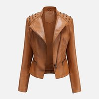Autumn Faux Leather Riveting Studded Women' s Coat Zippe...