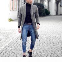 Men Designer Winter Long Wool Coats Plaid Pattern Fashion Mens Warm Cardigan Coats Manteaux Pour Hommes
