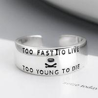 Серебряный цвет ретро винтажный преувеличенный личностный черепные кольца для мужчин Женские письма палец кольцо преувеличение кластер