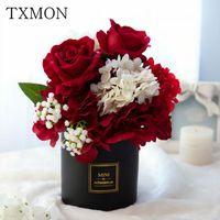 Decorative Flowers & Wreaths Simulation Rose Fake Black Large High-end Atmospheric Simple Light Luxury Label Ceramic Straight Vase Floral De