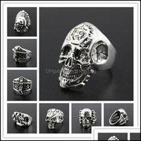 Band Jewelryoversize Gothic Skl Carved Biker Mixed Styles Lots Mens Anti-Sier Rings Retro Jewelry Drop Delivery 2021 Urzm9