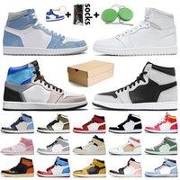Nike Air Jordan 1 Off White Jordan 1 retro 1s jumpman Горячие продажи Чикаго Новая Любовь Желтый Корт Фиолетовый Женские Мужские Баскетбольные Кроссовки Обсидиан Бесстрашные