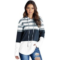 Swyivy Long Sleeve Sweatershirt Women Clothing Color Stripe 2021 Autumn Female Causal Hooded Pullover Women's Hoodies & Sweatshirts