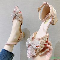 Dress Shoes Sweet Crystal Bow-knot Women Sandals Closed Heels Woman Slippers Chunky High Fairy Pointed Toe Femmes Sandales 2021