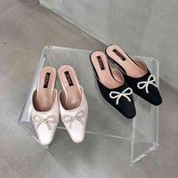 Moda Kadın Terlik Yay Tasarım Rahat Slaytlar Saten Flip Flop Slaytlar Flats Topuklu Sığ Yay Tasarım Terlik Mules Ayakkabı 210513